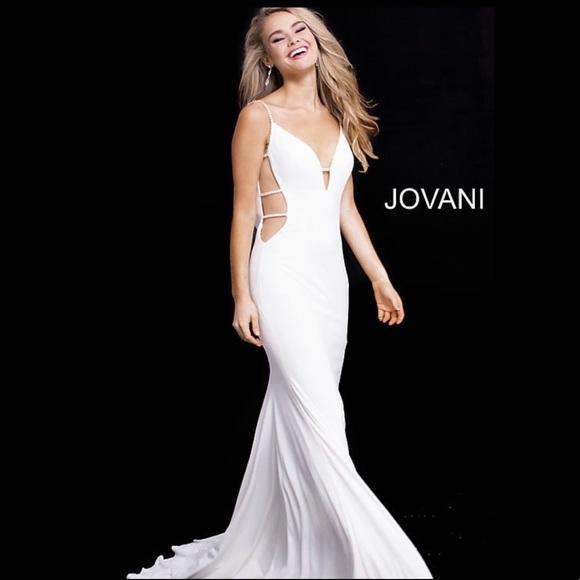 0630670bc37 Jovani V-Neck Prom Dress w  Side Cut-Outs 57295